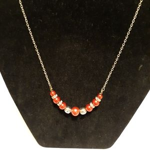 "Jewelry - Handmade 20"" necklace with red and silver beads"